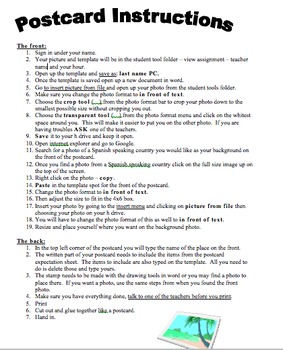 Spanish Postcard Directions and Rubric