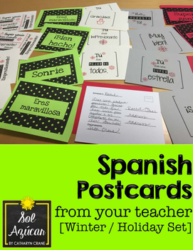 Spanish Postcards from Your Teacher - Winter Holiday Set