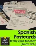 Spanish Postcards from Your Teacher - Neon Set