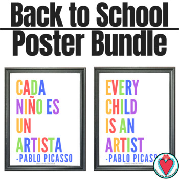 English Spanish Poster Bundle - 6 Motivational Posters in Spanish & English