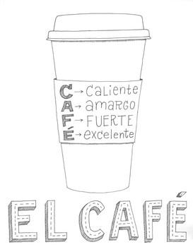 Spanish Poster ~Cafe ~Word Wall ~Bulletin Board ~Classroom Decor ~no prep poster