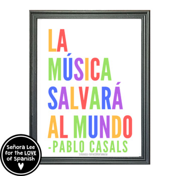 Spanish Poster - Music Will Save the World - Pablo Casals