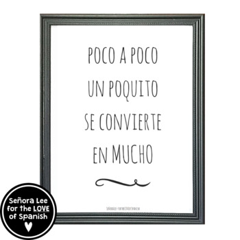 English Spanish Motivational Poster - Poco a poco