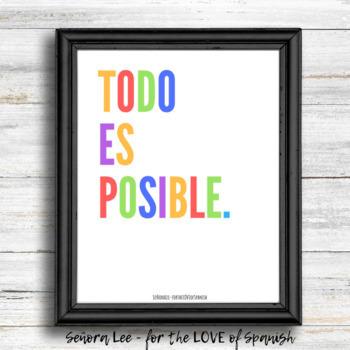 English Spanish Poster - Todo Es Posible