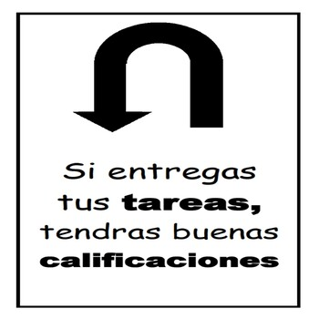 Spanish Poster to Encourage Students to Turn in Homework for Better Grades