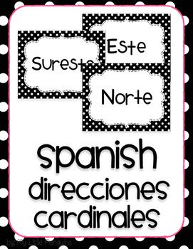 Spanish Posters Direcciones Cardinales (Cardinal Directions) B/W dots