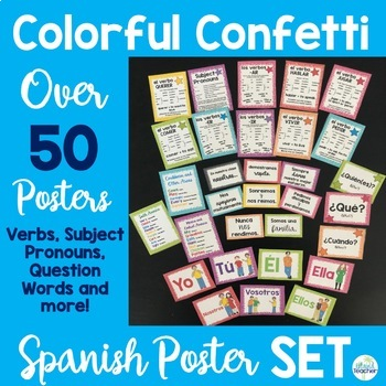 Spanish Posters Set Colorful Confetti