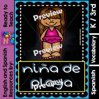 Spanish Posters - The Beach (La Playa) - Chalkboard - A4 Size