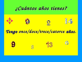 Spanish Teaching Resources. PowerPoint Slide: How to say your age.