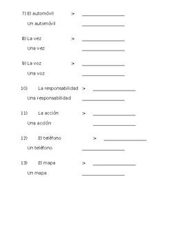 Spanish- Practice Making Nouns Plural