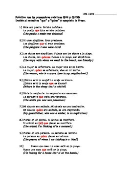Spanish Relative Pronoun Practice Worksheet on Que vs. Quien