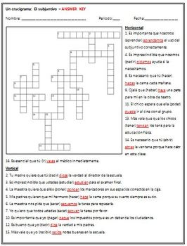 Spanish - Practice the Subjunctive with this Crossword Puzzle!