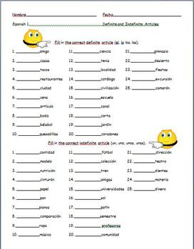 Spanish - Practice with Definite and Indefinite Articles