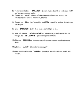 Spanish - Practice with the Preterite and Imperfect