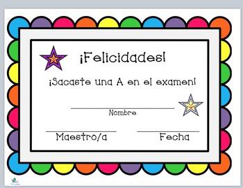 FREEBIE Spanish Praise Certificates & Bookmarks