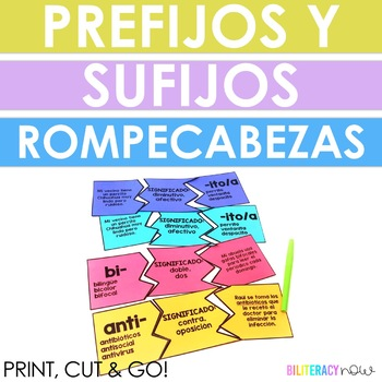 STAAR Reading Spanish Prefix and Suffix Puzzles! 26 Prefixes & 12 Suffixes!