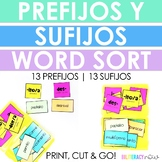 Spanish Prefix and Suffix Sort Includes 100 Words and 13 Prefixes & 13 Suffixes!