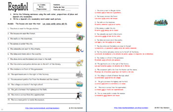 Spanish Prepositions Bundle of 7 - Practice, Vocabulary, Games, Cards, Sketch