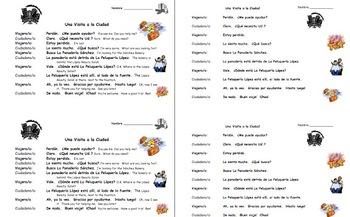 Spanish City, Prepositions, and Estar Bilingual Skit / Speaking Activity