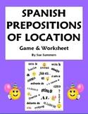 Spanish Prepositions Flyswatter Game and Worksheet