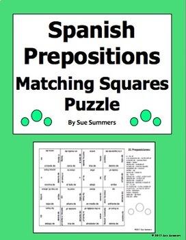 Spanish Prepositions Matching Squares Puzzle