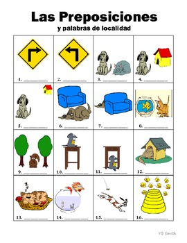 Spanish Prepositions PICTURE Notes SET