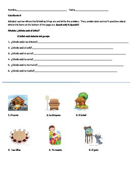 Spanish Prepositions Partner Activity