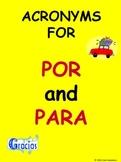 Spanish Prepositions Por & Para Acronym Signs