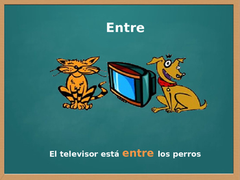 Spanish Prepositions /Prepositional Phrases with images  [COMPLETE PRESENTATION]