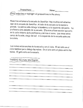 Spanish Prepositions Printables