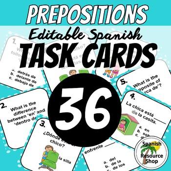Spanish Prepositions Task Cards