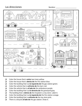 Spanish Prepositions Worksheets - Direction Words