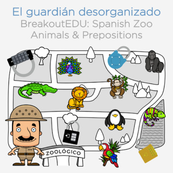 Spanish Prepositions and Zoo Animals Breakout EDU