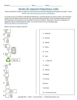 Spanish Prepositions for Locations and Directions Free Handout