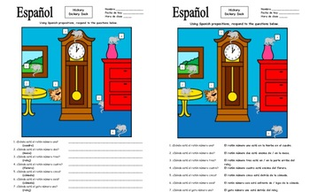 Spanish Prepositions of Location 7 Questions and Hickory Dickory Dock Rhyme