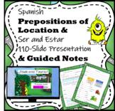 Spanish Prepositions of Location & Estar 110-Slide Presentation & Notes Packet