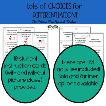 Spanish Prepositions of Location Manipulative, 5 Activities Included! CHRISTMAS