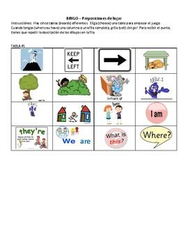 Spanish Prepositions of Location - Realidades 2B - ¡BINGO!
