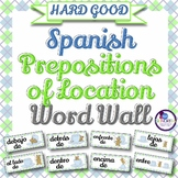 Spanish Prepositions of Location Word Wall & Bulletin Board Set {HARD GOOD}