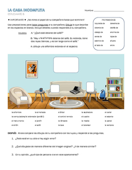 Spanish Prepositions of Place Communicative Activity - La casa incompleta