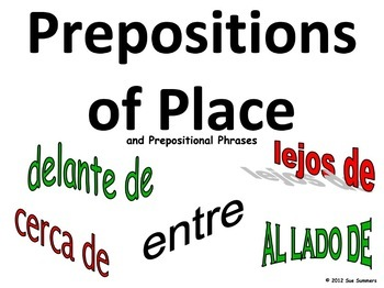 Spanish Prepositions of Place and Prepositional Phrases PowerPoint
