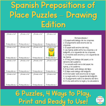 Spanish Prepositions with Estar Puzzle Activitiy - Drawing Edition