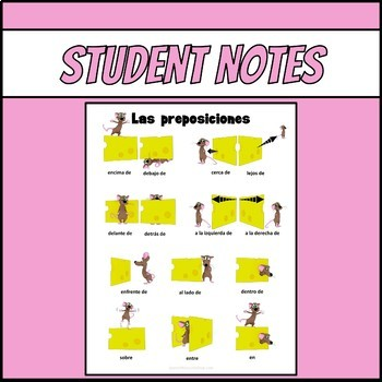 Spanish Prepositions with Pepe Notes and Practice Worksheets
