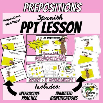 Spanish Prepositions with Pepe Powerpoint Lesson Bundle