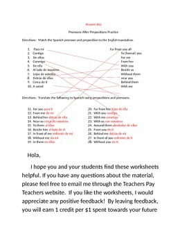 Spanish Prepositions with Pronouns Worksheets Practice Pack