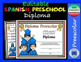 Spanish Preschool Diplomas Set 1 - Editable