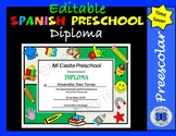 Spanish Preschool Diplomas Set 2- Editable