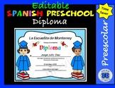 Spanish Preschool Diplomas Set 3 - Editable