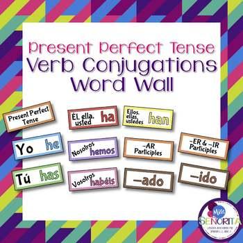 Spanish Present Perfect Tense Verb Conjugations Word Wall & Bulletin Board Set