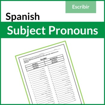 Spanish Present Tense Verb Escribir with Subject Pronouns Worksheet